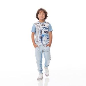 Calça Infantil/Kids Masculino Em Moletom Com Linho Sem Felpa - Um Mais Um Azul Claro