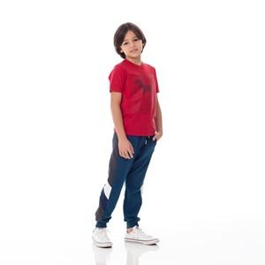 Calça Infantil/Kids Masculino Em Moletom Com Lycra Sem Felpa - Um Mais Um Azul