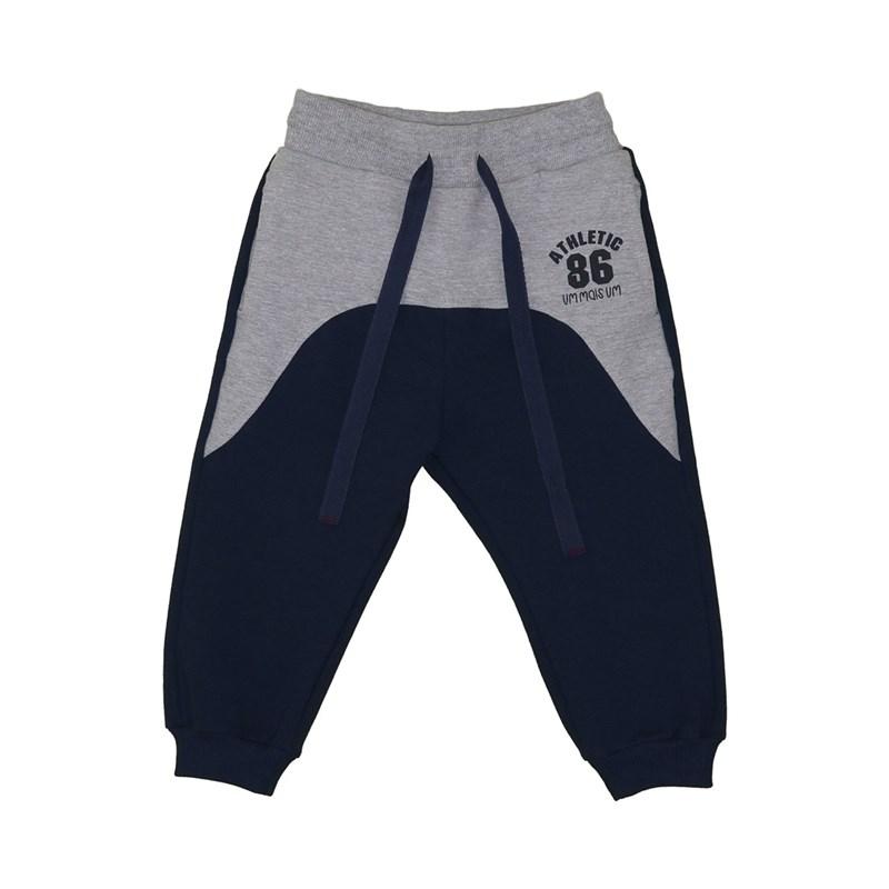 Calça infantil masculina bolsos laterais duas cores com punhos Marinho