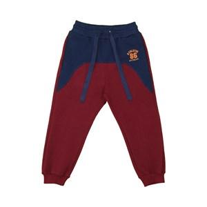 Calça infantil masculina bolsos laterais duas cores com punhos VINHO