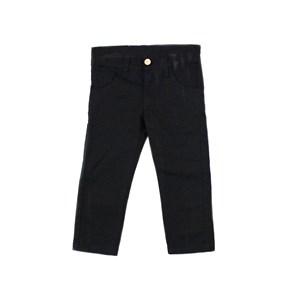 Calça Infantil Masculina Em Sarja Com Lycra - 1+1 Preto