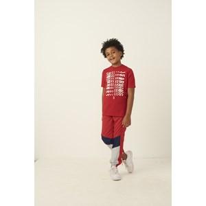 Calça infantil masculina recortes e detalhes em tela Vermelho