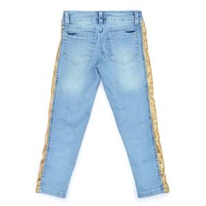 Calça Infantil / Teen Em Jeans Com Lycra Com Detalhe Lateral Em Malha Paete - Two In Dourado