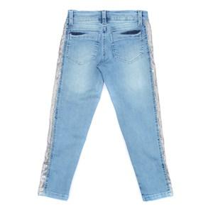 Calça Infantil / Teen Em Jeans Com Lycra Com Detalhe Lateral Em Malha Paete - Two In Prata