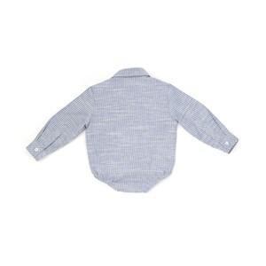 Camisa - Body Infantil / Baby Em Tricoline Com Flamê Listrado - Beaba Marinho