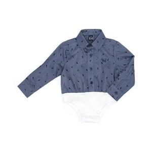 Camisa - Body Infantil / Baby Em Tricoline Estampada Com Cotton Alquimia E Patch De Cachorrinho - Um