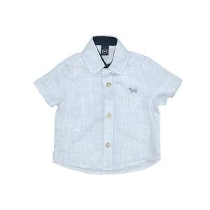 Camisa Infantil / Baby Em Chambray Com Patch De Cachorrinho - Um Mais Um Azul Claro