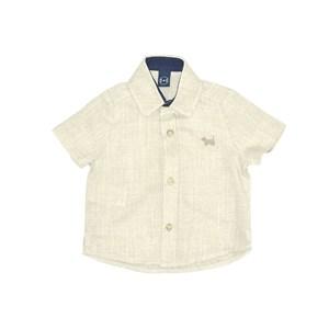 Camisa Infantil / Baby Em Chambray Com Patch De Cachorrinho - Um Mais Um Bege Claro
