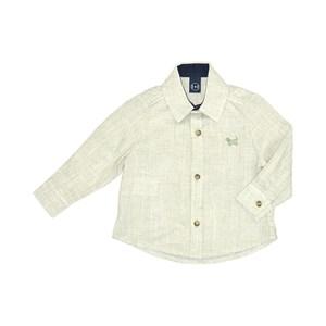 Camisa Infantil / Baby Em Chambray Com Patch De Cachorrinho - Um Mais Um Verde