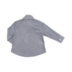 Camisa Infantil / Baby Em Tricoline Xadrez Com Patch De Cachorrinho - Um Mais Um Azul