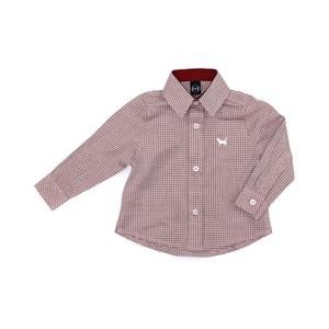 Camisa Infantil / Baby Em Tricoline Xadrez Com Patch De Cachorrinho - Um Mais Um Vermelho