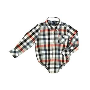 Camisa Infantil / Baby Em Xadrez Com Patch De Cachorrinho - Um Mais Um Laranja Escuro