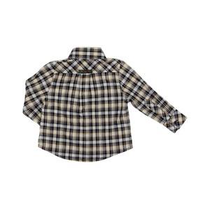 Camisa Infantil / Baby Em Xadrez Com Patch De Cachorrinho - Um Mais Um Ocre