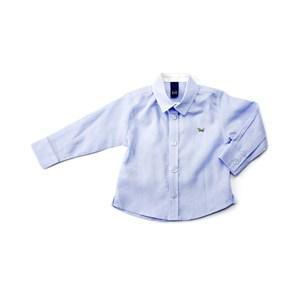 Camisa Infantil / Baby Masculina Em Cambraia De Linho - 1+1 Azul Claro