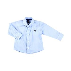 Camisa Infantil / Baby Masculina Em Tricoline Liso - 1+1 Azul Claro