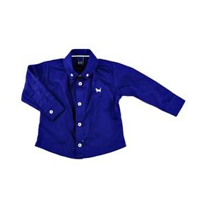 Camisa Infantil / Baby Masculina Em Tricoline Liso - 1+1 Marinho