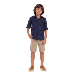 Camisa Infantil Estampa Padrões Marinho