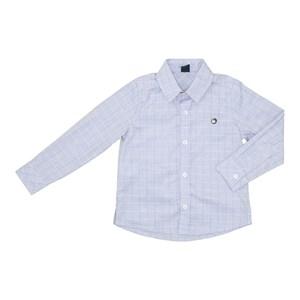 Camisa Infantil Estampa Quadriculada Azul Claro