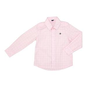 Camisa Infantil Estampa Quadriculada Rosa Claro