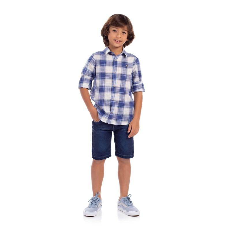 Camisa Infantil Estampa Xadrez Azul