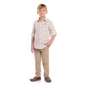 Camisa Infantil Estampa Xadrez Bege Claro
