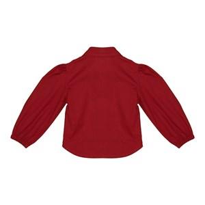 Camisa infantil feminina manga longa bufante Vermelho