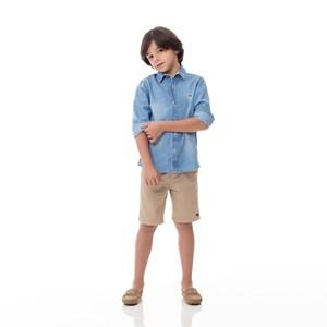 Camisa Infantil / Kids Em Jeans Com Lycra Com Patch De Cachorrinho - Um Mais Um Delave