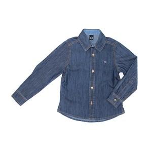 Camisa Infantil / Kids Em Jeans Com Lycra Com Patch De Cachorrinho - Um Mais Um Stone