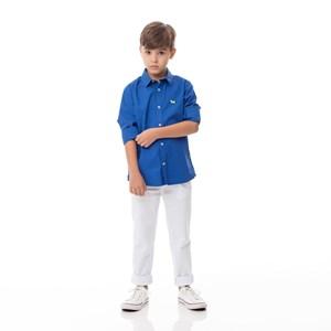 Camisa Infantil / Kids Em Tricoline Importada Com Bordado De Cachorrinho - Um Mais Um Royal