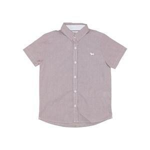Camisa Infantil / Kids Em Tricoline Mine Xadrez Com Bordado De Cachorrinho - Um Mais Um Vermelho