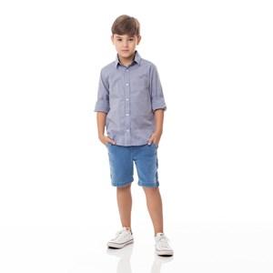 Camisa Infantil / Kids Em Tricoline Xadrez Com Patch De Cachorrinho - Um Mais Um Azul Jeans