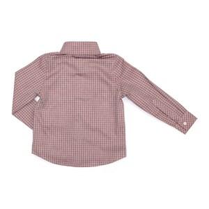Camisa Infantil / Kids Em Tricoline Xadrez Com Patch De Cachorrinho - Um Mais Um Vermelho