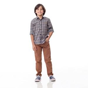 Camisa Infantil / Kids Em Xadrez Com Bordado De Cachorrinho - Um Mais Um Ocre