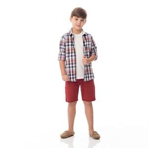 Camisa Infantil / Kids Em Xadrez Com Patch De Cachorrinho - Um Mais Um Laranja Escuro