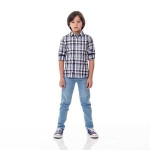 Camisa Infantil / Kids Em Xadrez Com Patch De Cachorrinho - Um Mais Um Preto