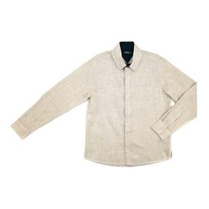 Camisa Infantil / Teen Em Chambray C/Bordado Frontal - Two Bege Claro