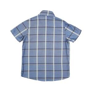 Camisa Infantil / Teen Em Tricoline Xadrez De Algodão C/Bordado Frontal - Two Azul Jeans