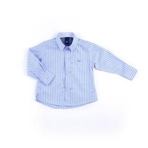Camisa Masculina Infantil / Baby Em Tricoline Com Entretela - Um Mais Um Azul Claro
