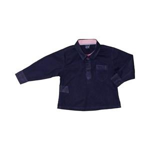 Camisa Masculina Infantil / Baby Em Tricoline Listrada Com Voil De Algodão - Um Mais Um Marinho