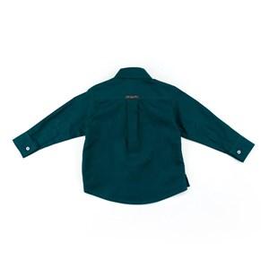 Camisa Masculina Infantil / Baby Em Tricoline Listrado - Um Mais Um Verde