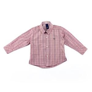 Camisa Masculina Infantil / Baby Em Tricoline Xadrez - Um Mais Um Vermelho