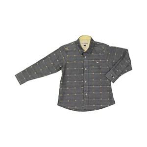 Camisa Masculina Infantil / Kids Em Chambray Oxford Com Tricoline - Um Mais Um Azul Jeans