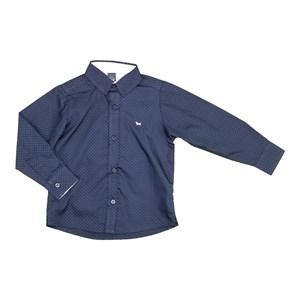 Camisa Masculina Infantil / Kids Em Trcioline Com Entretela - Um Mais Um Marinho