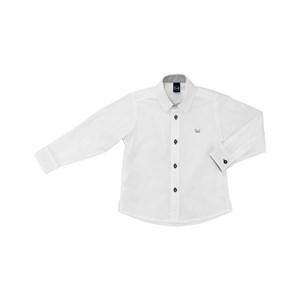 Camisa Masculina Infantil / Kids Em Tricoline Com Entretela - Um Mais Um Branco