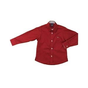 Camisa Masculina Infantil / Kids Em Tricoline Com Entretela - Um Mais Um Vermelho