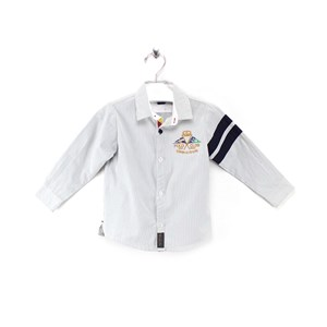 Camisa Masculina Infantil / Kids Em Tricoline Galles - Um Mais Um Verde Agua