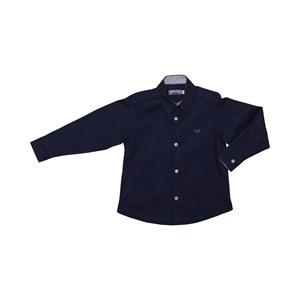 Camisa Masculina Infantil / Kids Em Tricoline Listrada Com Entretela - Um Mais Um Marinho