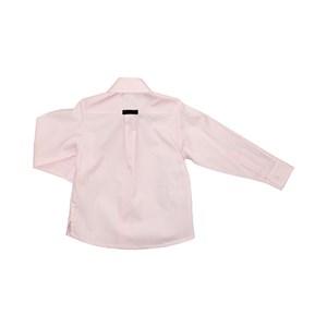 Camisa Masculina Infantil / Kids Em Tricoline Listrada Com Entretela - Um Mais Um Rosa Claro