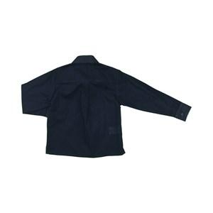 Camisa Masculina Infantil / Kids Em Tricoline Listrado Com Voil De Algodão - Um Mais Um Marinho