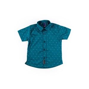 Camisa Masculina Infantil / Kids Em Tricoline Maquinetado - Um Mais Um Verde